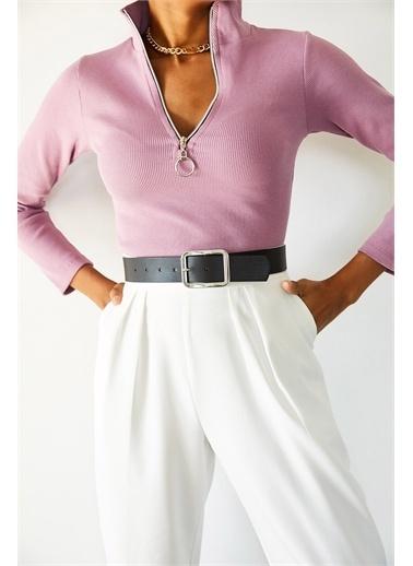 XHAN Lila Kaşkorse Fermuarlı Bluz  Pembe